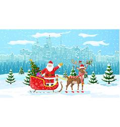 santa claus rides reindeer sleigh vector image