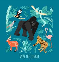 save jungle eco concept vector image