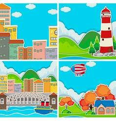 Scenes from city and rural area vector