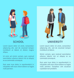 School and university posters with inscriptions vector