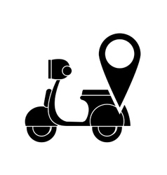 scooter and gps map pointer icon vector image