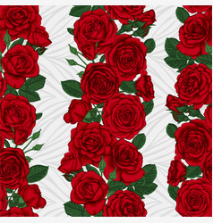 seamless background with red roses buds and leaves vector image