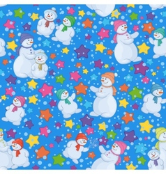 Seamless christmas background with snowmen vector