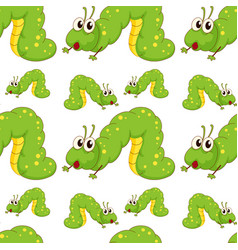 Seamless pattern tile cartoon with caterpillar vector