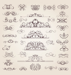 Set decorative classical swirls and vector