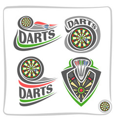 Set icons for darts game vector