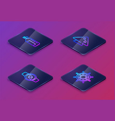 Set isometric line aqualung compass fish and vector