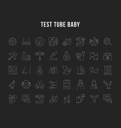 set line icons test tube baby vector image