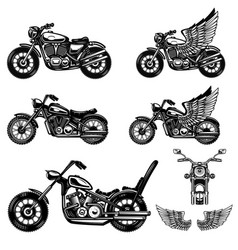 set motorcycle design element for logo label vector image