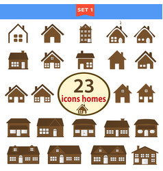 set of classic homes in brown color vector image