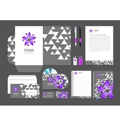 set of corporate identity elements gray and purple vector image