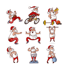 Set of fat santa claus in different actions vector