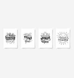 set of four hand lettering posters positive quote vector image