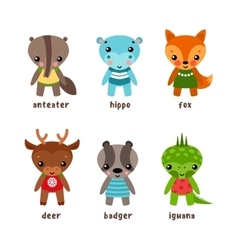 Set of isolated cartoon kid of animals vector