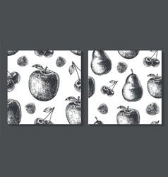 set of seamless fruit pattern food vector image