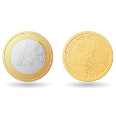 Set one euro and dollar coins vector