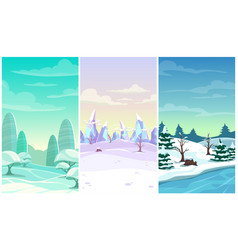 Set three winter vertical background cartoon vector