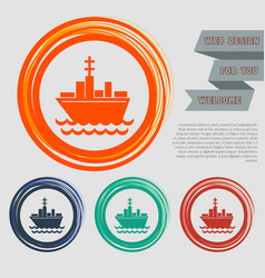 Ship boat icon on the red blue green orange vector