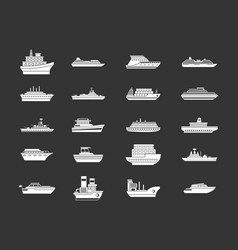 ship icon set grey vector image