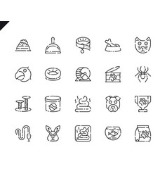 simple set pen and animal line icons for website vector image