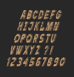 slanting stylish grunge alphabet letters and vector image