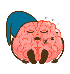 Sleeping inactive brain emoticon isolated on white vector