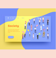 Society landing page design vector
