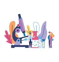 Sperm research banner - cartoon doctor and young vector