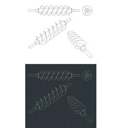 Spiral screw drawings vector