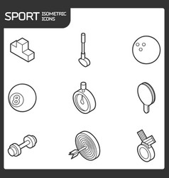 Sport outline isometric icons vector
