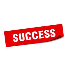 Success sticker success square sign success peeler vector