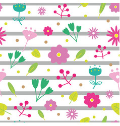 summer blooming colorful cute flower pattern vector image