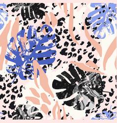 summer botanical seamless pattern grunge marble vector image