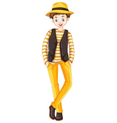 Tall man in yellow pants vector
