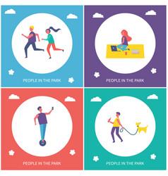 teens having active leisure in park cartoon banner vector image