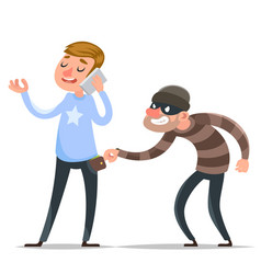 Thief steals purse from hapless guy character icon vector