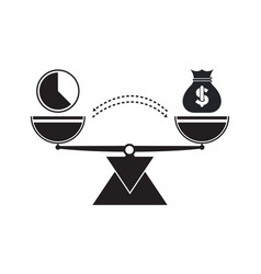 Time and money scale icons weigh with hours vector