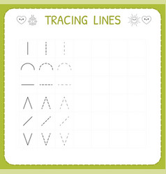 Trace line worksheet for kids working pages for vector