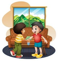 Two boys shaking hands near sofa vector