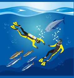 underwater depths research composition vector image