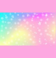 unicorn rainbow background holographic sky vector image