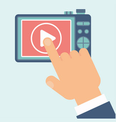 video play camera hand vector image