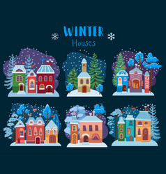 winter collection of christmas houses cozy snow vector image