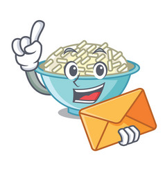 with envelope rice bowl character cartoon vector image