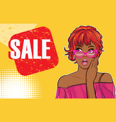 woman looking side keep wow at sale vector image