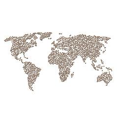 Worldwide map pattern of oak acorn items vector
