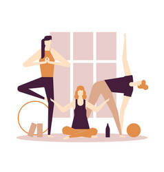 yoga practice - flat design style colorful vector image