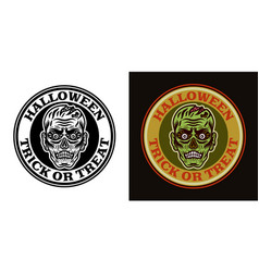 zombie head halloween round emblem two styles vector image