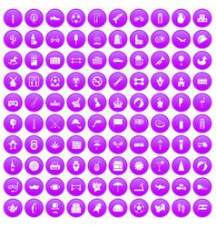100 ball icons set purple vector
