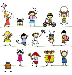 A group of little childrens vector image vector image